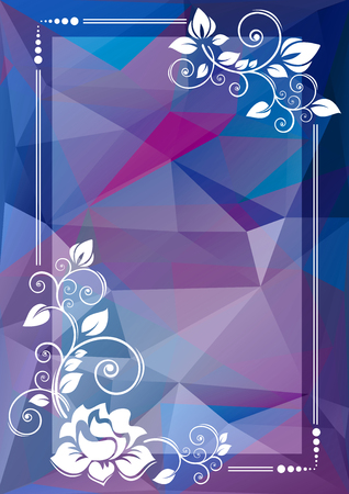 curve creative: Abstract floral border on a blue polygonal background.