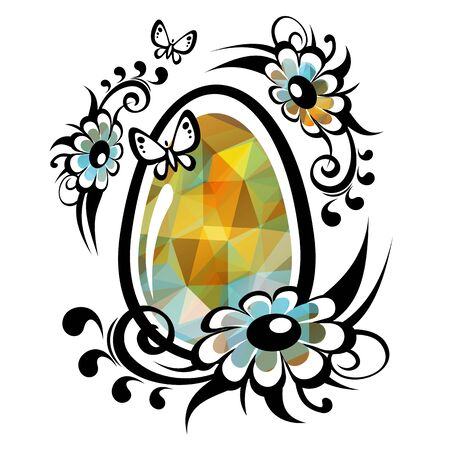 easter flowers: Polygonal Easter egg with flowers and butterflies.