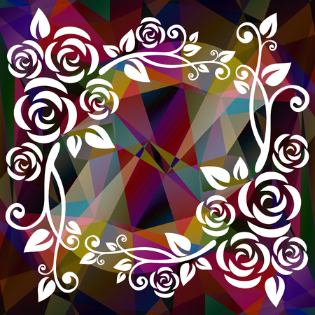 curve creative: Abstract floral border on a violet-purple polygonal background.