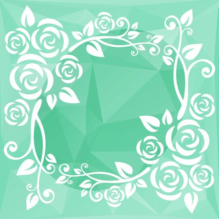 mint: Abstract floral border on a light mint polygonal background.