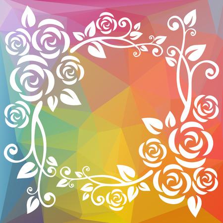 curve creative: Abstract floral border on a rainbow polygonal background.