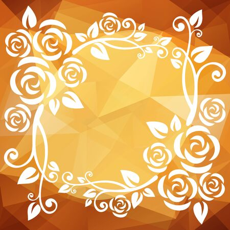 curve creative: Abstract floral border on a beige-brown polygonal background.