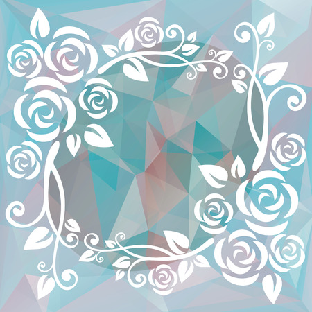 blue border: Abstract floral border on a blue-pink polygonal background.