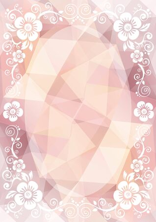 low poly: Abstract white floral border on a pink light polygonal background.