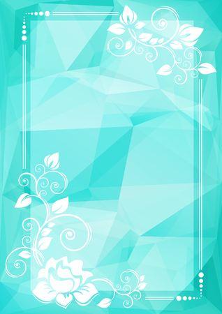 curve creative: Abstract floral border on a blue bright polygonal background.