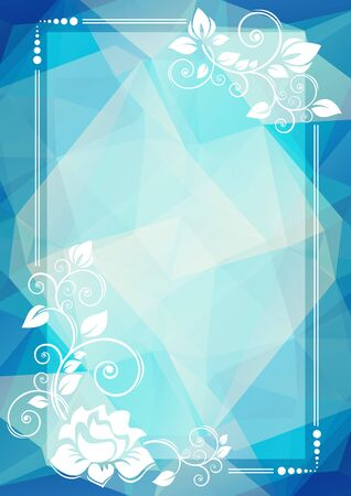 blue border: Abstract floral border on a blue dark polygonal background.