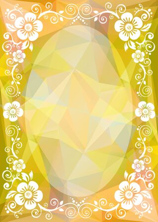 curve creative: Abstract floral border on a yellow polygonal background. Illustration