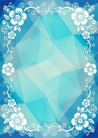 polygons: Abstract floral border on a blue dark polygonal background.
