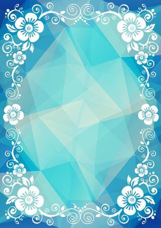 to polygons: frontera floral abstracto sobre un fondo azul oscuro poligonal.