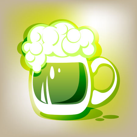 st patrics: Stylized green beer mug on a gray background.