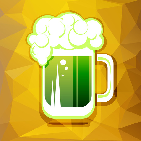 st patrics: Stylized green beer mug on a yellow polygonal background.