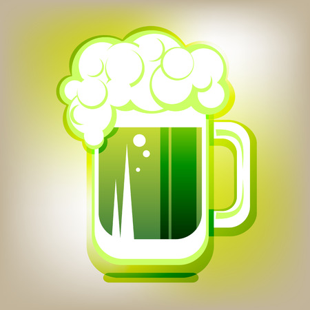 st patrics: Stylized green beer mug on a gray polygonal background.