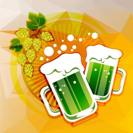 st patrics: Two green beer glasses and hop on a beer color background. Illustration