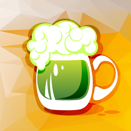st patrics: Stylized green beer on a beer color polygonal background.