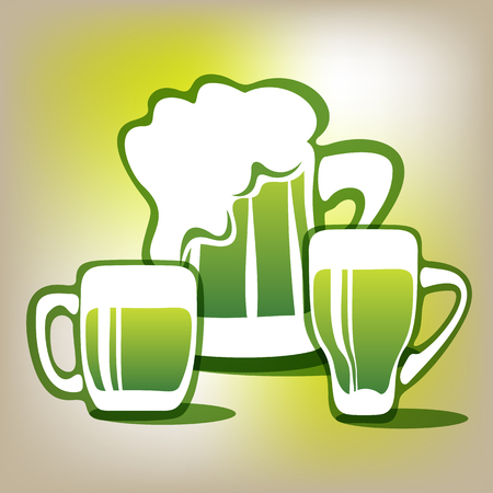 st patrics: Stylized three green beer mugs on a gray polygonal background.