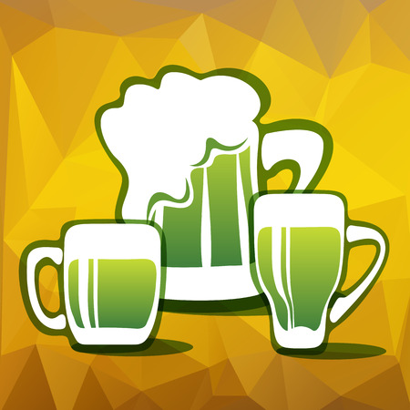 green beer: Stylized three green beer mugs on a yellow polygonal background.