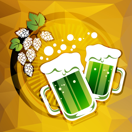 st patrics: Two green beer mugs and hop on a beer color background. Illustration