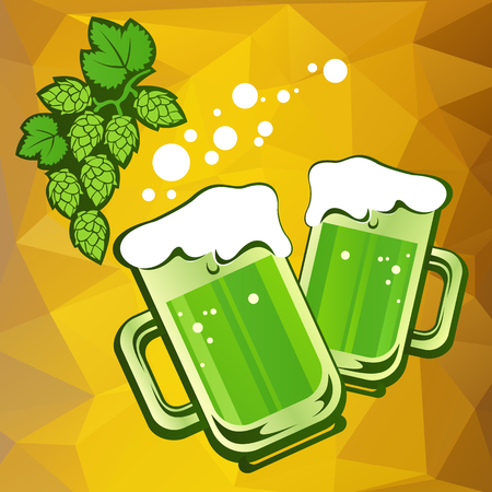 st patrics: Two green beer mugs and hop on a yellow polygonal background. Illustration