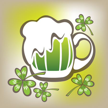st patrics: Stylized green beer mug and clover on a gray background. Illustration