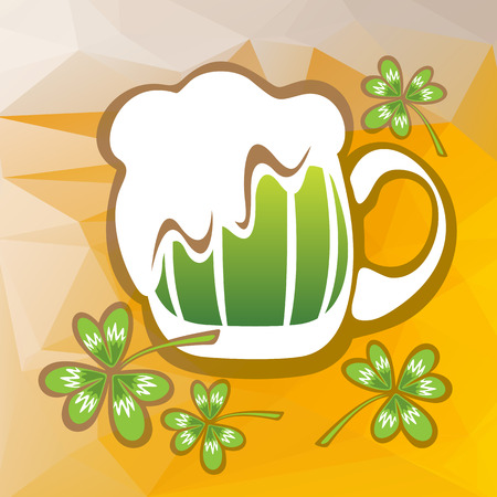 st patrics: Stylized green beer glass and clover on a beer color background.