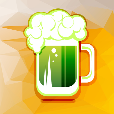 st patrics: Stylized green beer mug on a beer color background.
