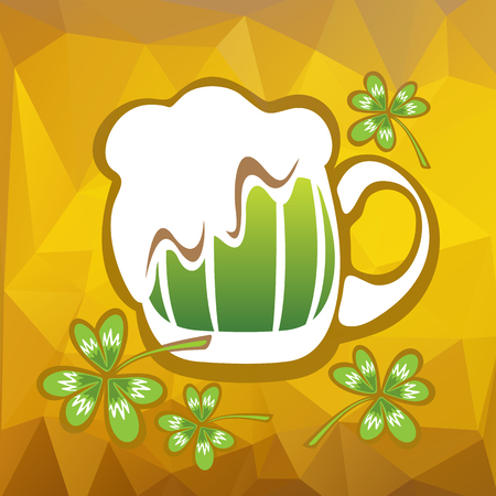 st patrics: Stylized green beer mug and clover on a beer color background.