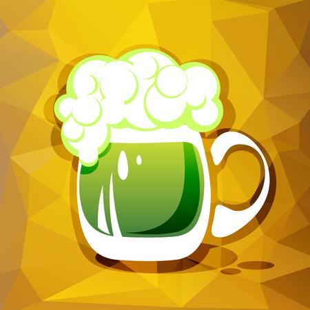 patrics: Stylized green beer mug on a yellow background.