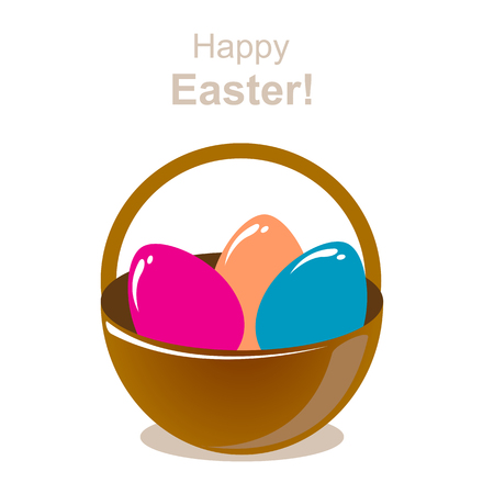 brown egg: Stylized basket with Easter eggs on a white background.
