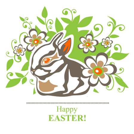 brown egg: Stylized Easter rabbit with Easter eggs on a white background.