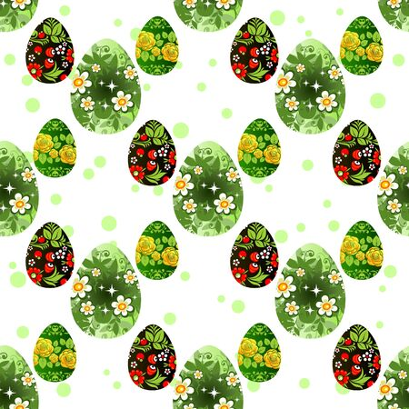 graphic pattern: Cartoon Easter eggs on a white background. Seamless background.