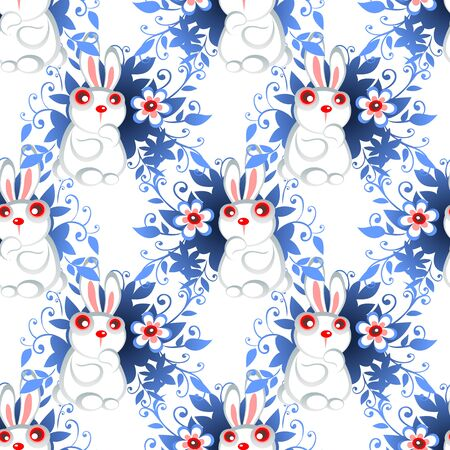 decorative patterns: Stylized Easter rabbit with eggs on a white background.