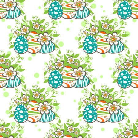 Cartoon Easter eggs with flowers. Seamless background.