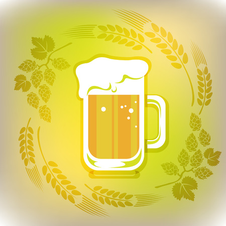 suds: Stylized beer and ears on a gray-green polygonal background.