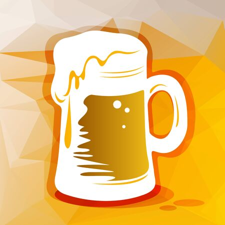 light brown background: Stylized big beer glass on a light brown polygonal background.
