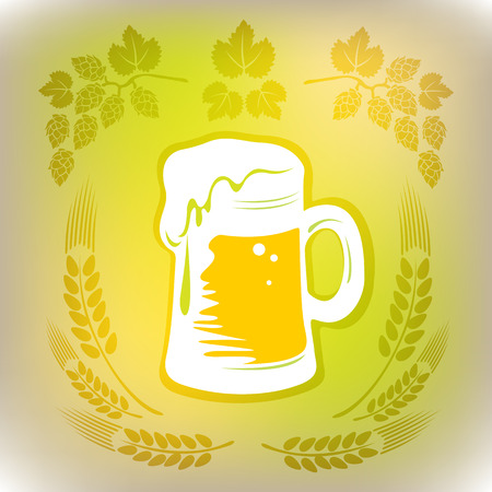 suds: Stylized beer mug on a gray polygonal background. Illustration