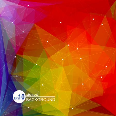 polyhedron: Polygonal abstract background with red and green triangles.