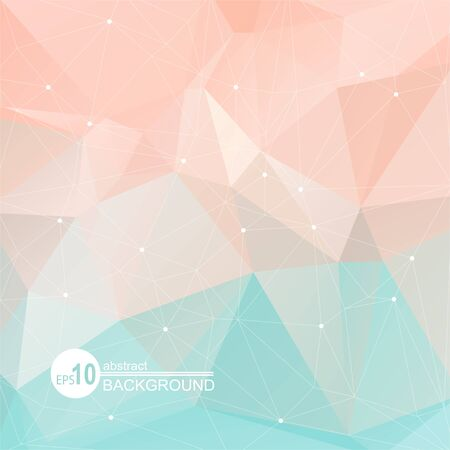 Polygonal abstract background with light mint-pink triangles. Illustration