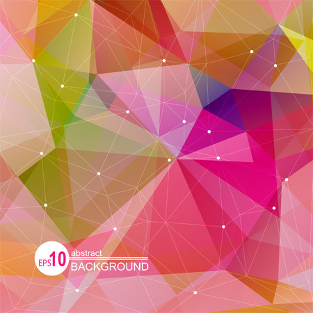 mosaic background: Polygonal abstract background with bright pink and blue triangles.