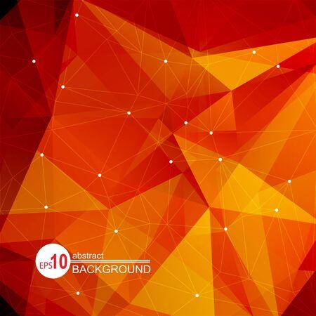 붉은 색과 오렌지색 삼각형이있는 다각형 추상적 인 배경.