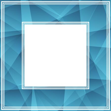 blue border: Abstract border with bright and light blue triangles. Illustration