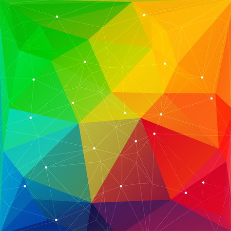 polyhedron: Polygonal abstract background with bright rainbow triangles. Illustration