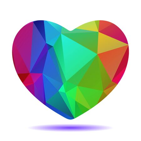 gay pride: Polygonal bright rainbow heart isolated on a white background.