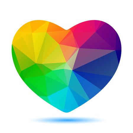 다각형 흰색 배경에 고립 된 밝은 심장 실루엣 양식에 일치시키는.