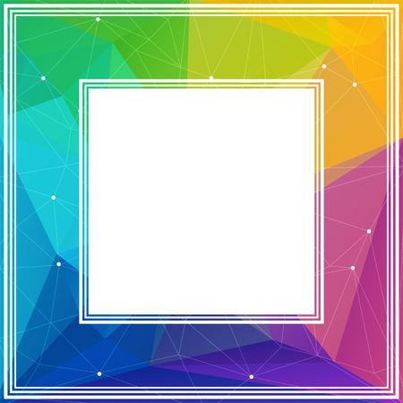 polyhedron: Polygonal abstract border with multicolored bright triangles.