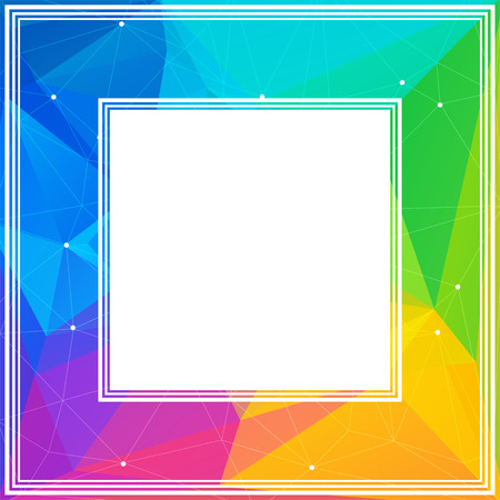 rainbow abstract: Polygonal abstract border with bright rainbow triangles. Illustration