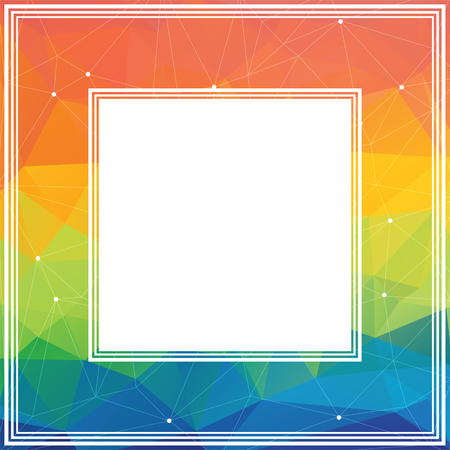 rainbow abstract: Polygonal abstract border with multicolored rainbow triangles.