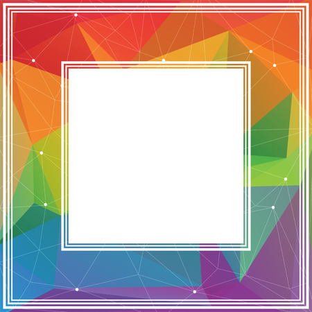 rainbow abstract: Polygonal abstract border with  colored rainbow triangles.