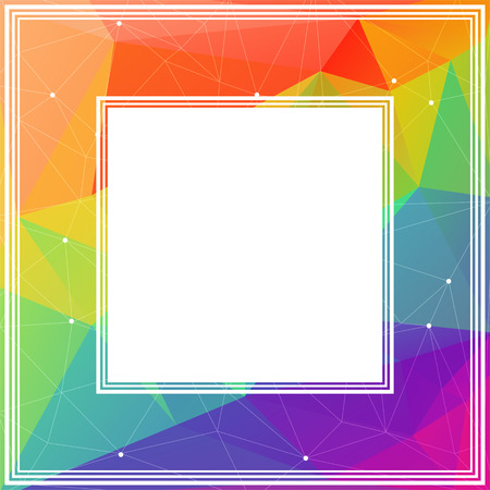 coloured: Polygonal abstract border with bright colored triangles.
