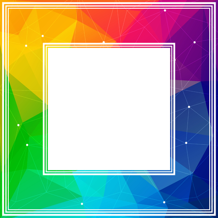 rainbow abstract: Polygonal abstract border with colored rainbow triangles. Illustration