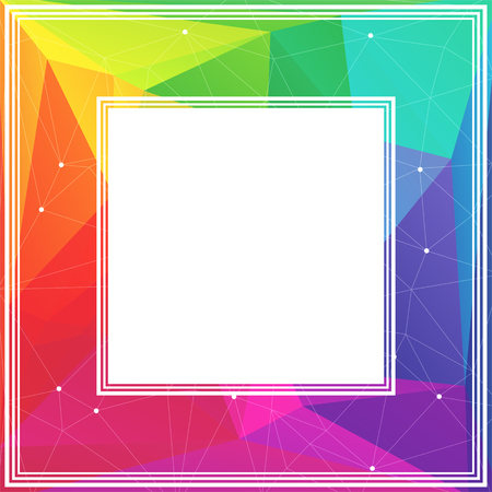 coloured background: Polygonal abstract border with multicolored bright triangles.